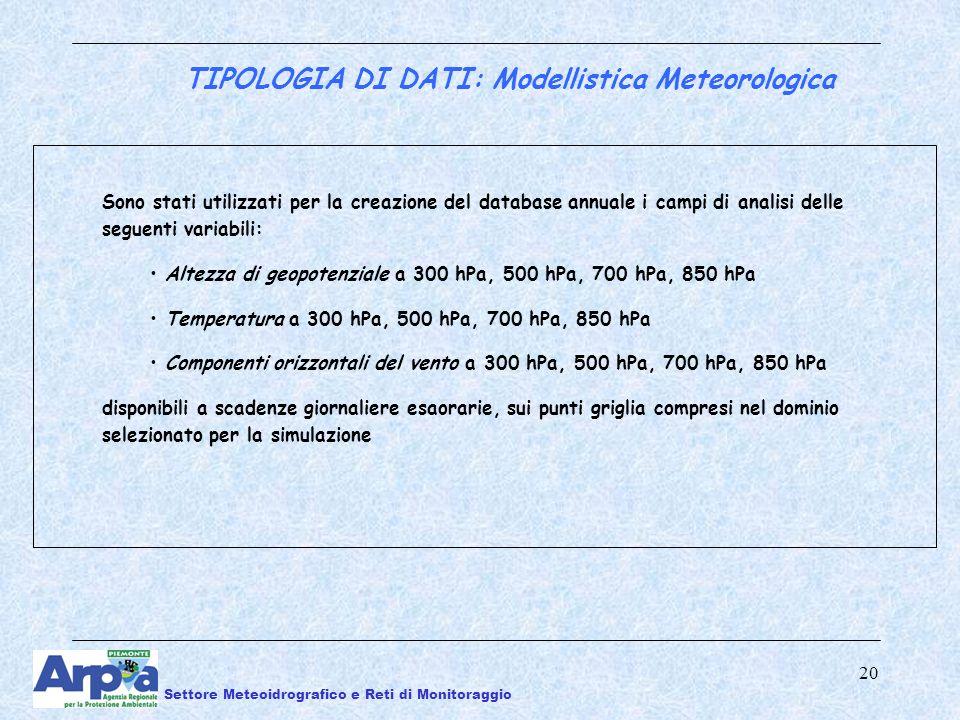 20 Sono stati utilizzati per la creazione del database annuale i campi di analisi delle seguenti variabili: Altezza di geopotenziale a 300 hPa, 500 hPa, 700 hPa, 850 hPa Temperatura a 300 hPa, 500 hPa, 700 hPa, 850 hPa Componenti orizzontali del vento a 300 hPa, 500 hPa, 700 hPa, 850 hPa disponibili a scadenze giornaliere esaorarie, sui punti griglia compresi nel dominio selezionato per la simulazione TIPOLOGIA DI DATI: Modellistica Meteorologica Settore Meteoidrografico e Reti di Monitoraggio