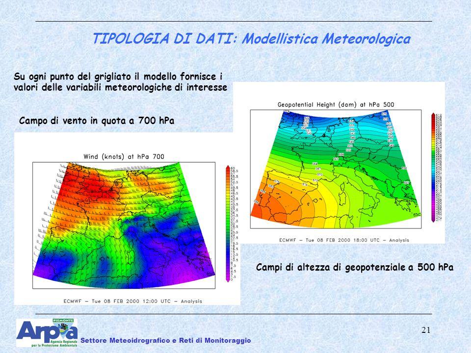 21 Su ogni punto del grigliato il modello fornisce i valori delle variabili meteorologiche di interesse Campo di vento in quota a 700 hPa Campi di altezza di geopotenziale a 500 hPa TIPOLOGIA DI DATI: Modellistica Meteorologica Settore Meteoidrografico e Reti di Monitoraggio