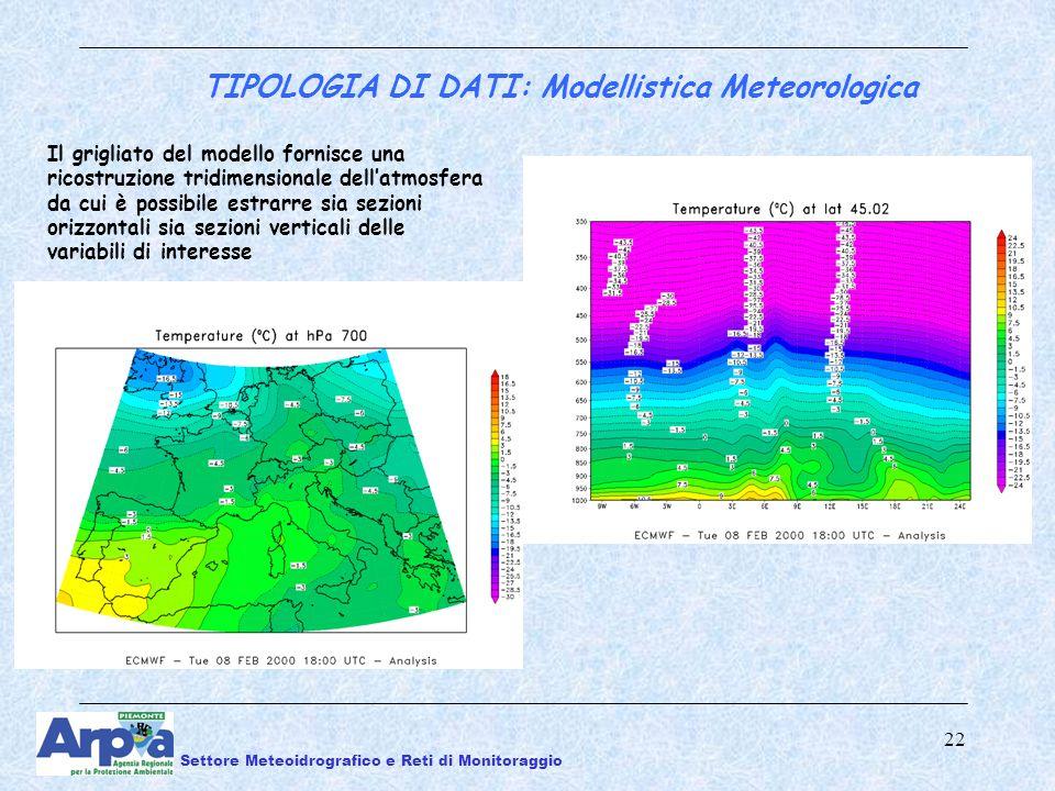 22 Il grigliato del modello fornisce una ricostruzione tridimensionale dellatmosfera da cui è possibile estrarre sia sezioni orizzontali sia sezioni verticali delle variabili di interesse TIPOLOGIA DI DATI: Modellistica Meteorologica Settore Meteoidrografico e Reti di Monitoraggio