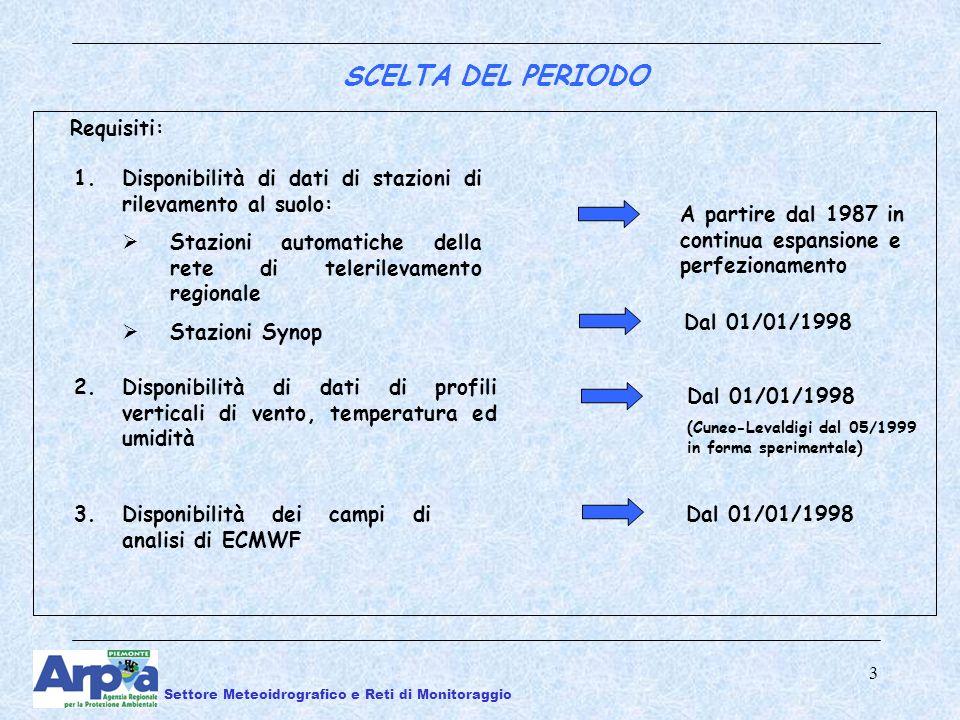 3 3.Disponibilità dei campi di analisi di ECMWF Dal 01/01/1998 1.Disponibilità di dati di stazioni di rilevamento al suolo: Stazioni automatiche della rete di telerilevamento regionale Stazioni Synop A partire dal 1987 in continua espansione e perfezionamento Requisiti: 2.Disponibilità di dati di profili verticali di vento, temperatura ed umidità Dal 01/01/1998 (Cuneo-Levaldigi dal 05/1999 in forma sperimentale) Dal 01/01/1998 SCELTA DEL PERIODO Settore Meteoidrografico e Reti di Monitoraggio