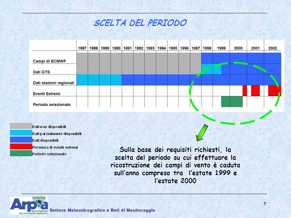 5 SCELTA DEL PERIODO Sulla base dei requisiti richiesti, la scelta del periodo su cui effettuare la ricostruzione dei campi di vento è caduta sullanno compreso tra lestate 1999 e lestate 2000 Settore Meteoidrografico e Reti di Monitoraggio