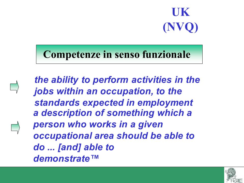 UK (NVQ) Competenze in senso funzionale the ability to perform activities in the jobs within an occupation, to the standards expected in employment a