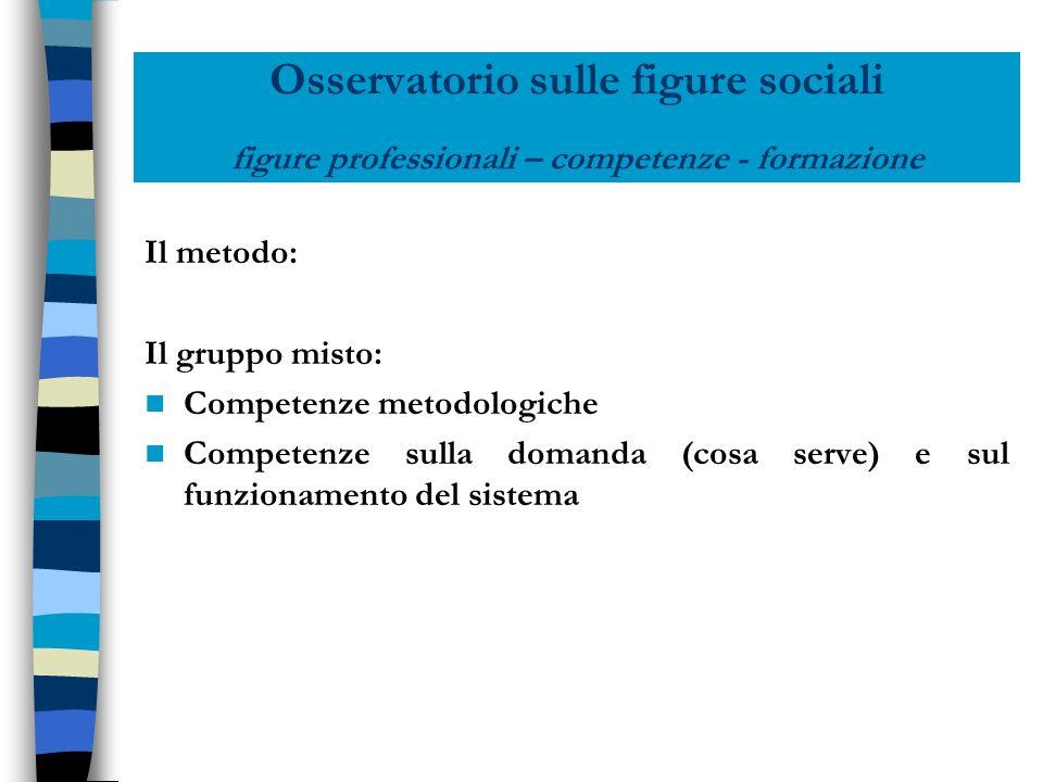 Osservatorio sulle figure sociali figure professionali – competenze - formazione Il metodo: Il gruppo misto: Competenze metodologiche Competenze sulla
