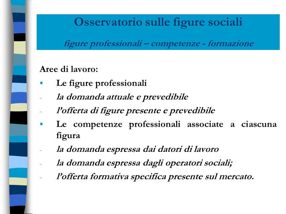 Osservatorio sulle figure sociali figure professionali – competenze - formazione Aree di lavoro: Le figure professionali - la domanda attuale e preved