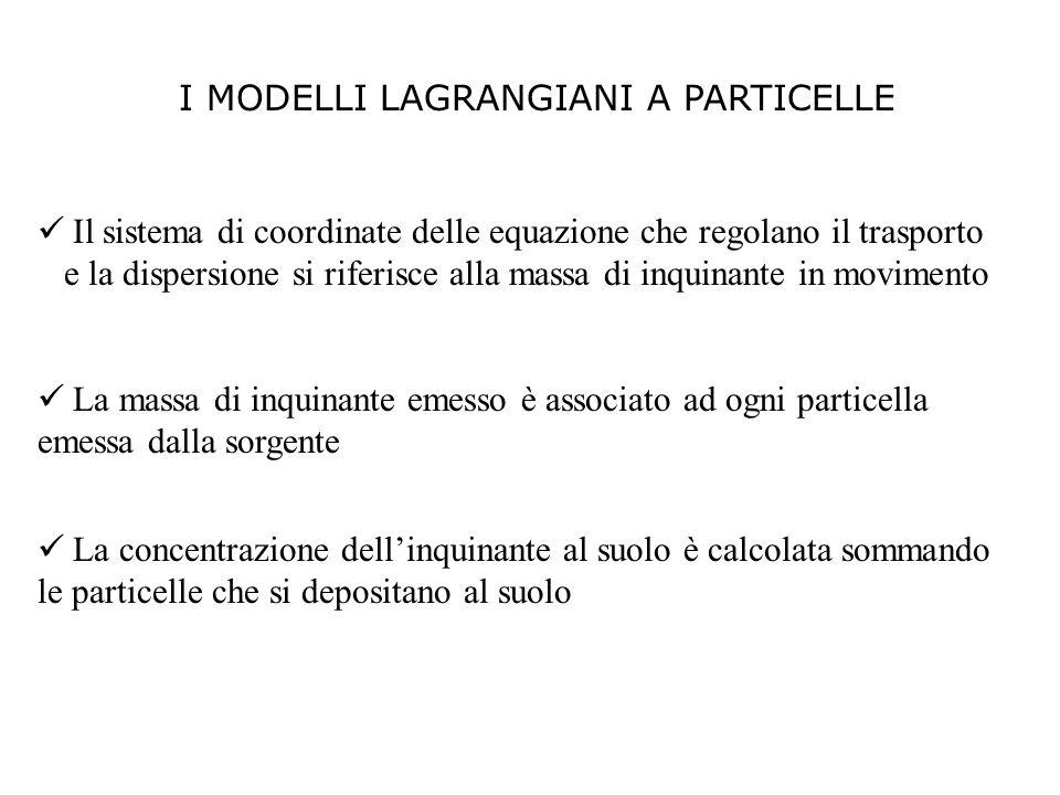 I MODELLI LAGRANGIANI A PARTICELLE Il sistema di coordinate delle equazione che regolano il trasporto e la dispersione si riferisce alla massa di inqu