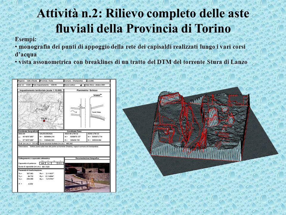 Attività n.2: Rilievo completo delle aste fluviali della Provincia di Torino Esempi: monografia dei punti di appoggio della rete dei capisaldi realizz