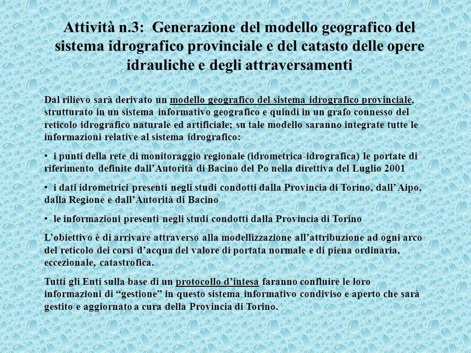 Attività n.3: Generazione del modello geografico del sistema idrografico provinciale e del catasto delle opere idrauliche e degli attraversamenti Dal