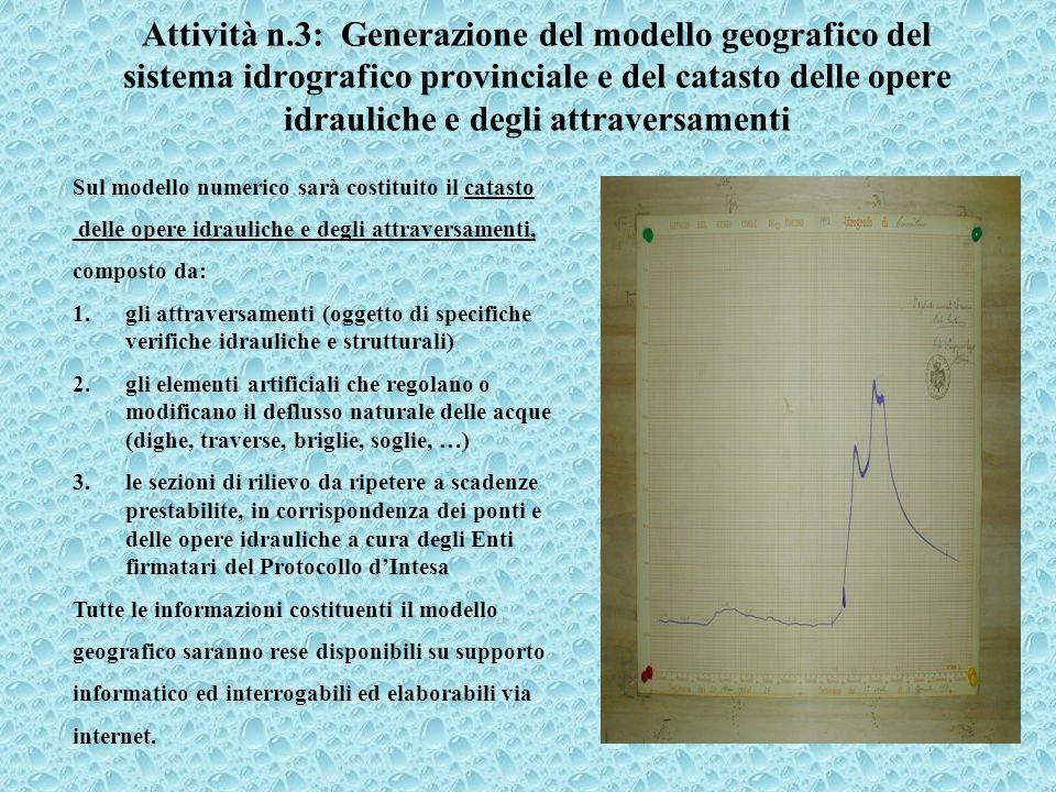 Attività n.3: Generazione del modello geografico del sistema idrografico provinciale e del catasto delle opere idrauliche e degli attraversamenti Sul