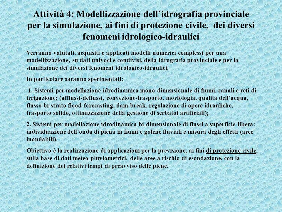 Attività 4: Modellizzazione dellidrografia provinciale per la simulazione, ai fini di protezione civile, dei diversi fenomeni idrologico-idraulici Ver