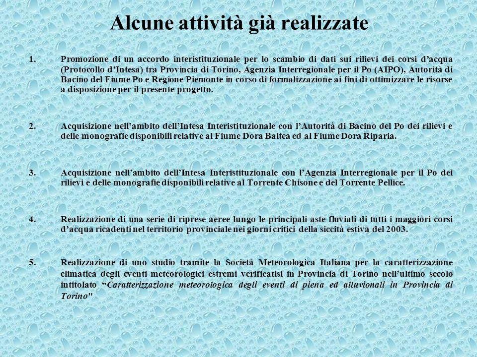 1.Promozione di un accordo interistituzionale per lo scambio di dati sui rilievi dei corsi dacqua (Protocollo dIntesa) tra Provincia di Torino, Agenzi
