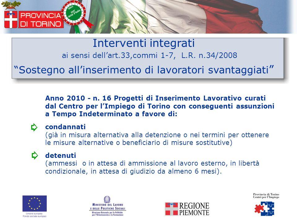Interventi integrati ai sensi dellart.33,commi 1-7, L.R. n.34/2008 Sostegno allinserimento di lavoratori svantaggiati Anno 2010 - n. 16 Progetti di In
