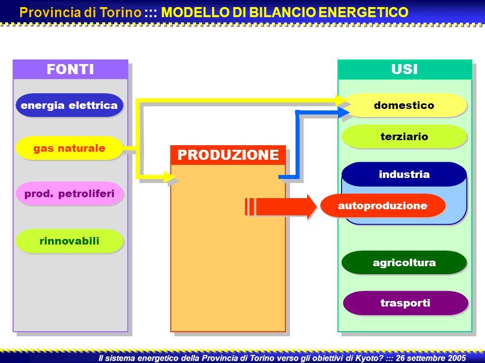 FONTI PRODUZIONE USI Il sistema energetico della Provincia di Torino verso gli obiettivi di Kyoto.