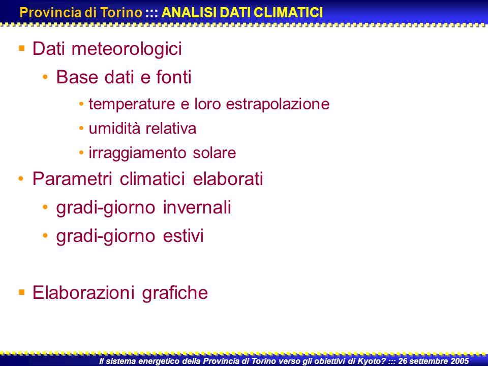 Fonte: Arpa Piemonte Dati meteo disponibili: temperatura massima media e minima; umidità relativa massima media e minima; precipitazioni; irraggiamento solare; pressione atmosferica Il sistema energetico della Provincia di Torino verso gli obiettivi di Kyoto.