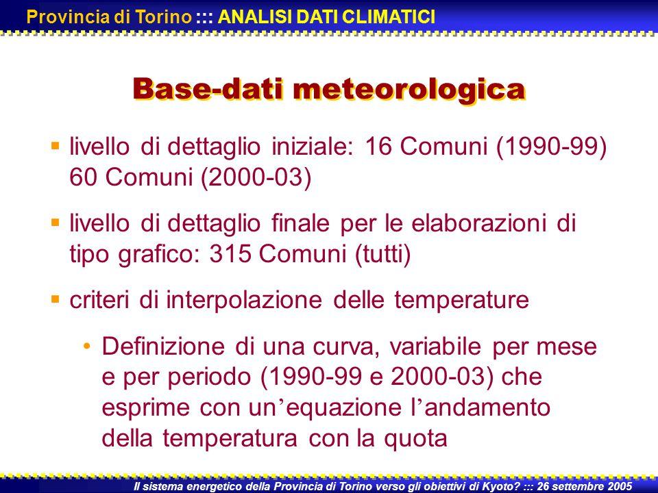 livello di dettaglio iniziale: 16 Comuni (1990-99) 60 Comuni (2000-03) livello di dettaglio finale per le elaborazioni di tipo grafico: 315 Comuni (tutti) criteri di interpolazione delle temperature Definizione di una curva, variabile per mese e per periodo (1990-99 e 2000-03) che esprime con un equazione l andamento della temperatura con la quota Il sistema energetico della Provincia di Torino verso gli obiettivi di Kyoto.