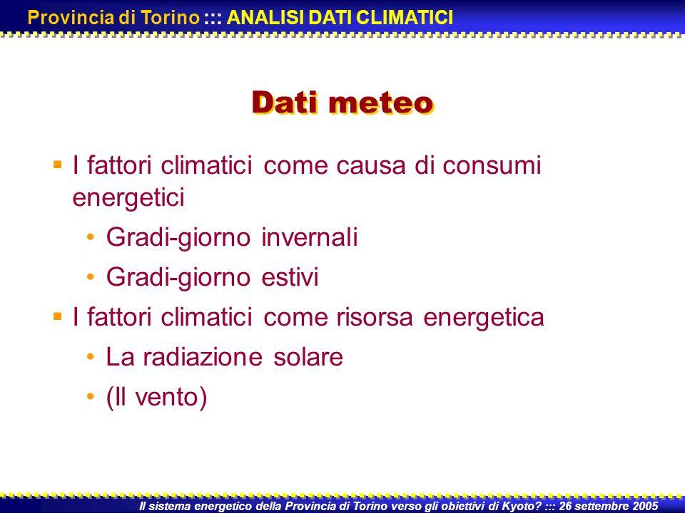 I fattori climatici come causa di consumi energetici Gradi-giorno invernali Gradi-giorno estivi I fattori climatici come risorsa energetica La radiazione solare (Il vento) Il sistema energetico della Provincia di Torino verso gli obiettivi di Kyoto.