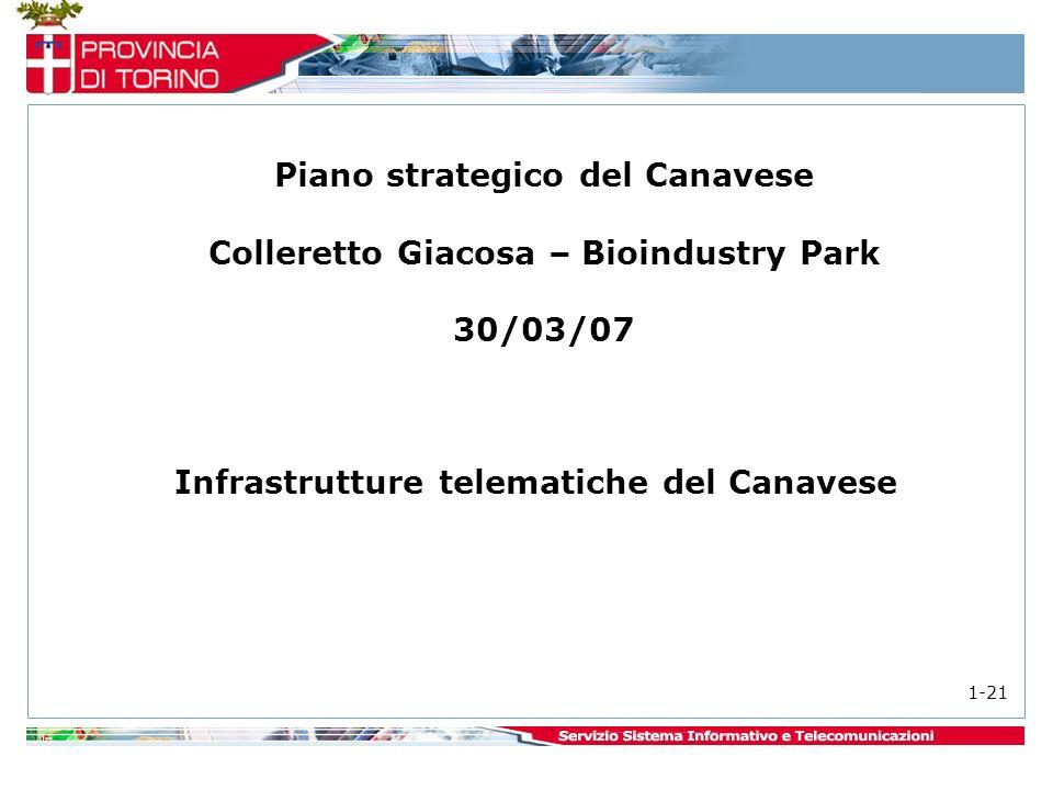 Infrastrutture telematiche del Canavese 1-21 Piano strategico del Canavese Colleretto Giacosa – Bioindustry Park 30/03/07