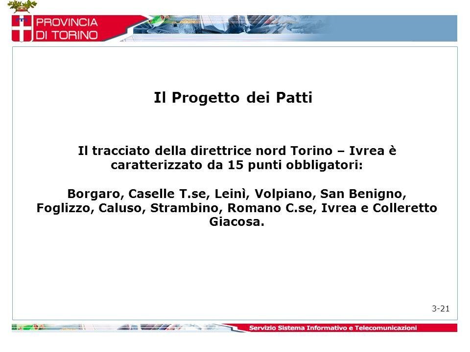 Il Progetto dei Patti Il tracciato della direttrice nord Torino – Ivrea è caratterizzato da 15 punti obbligatori: Borgaro, Caselle T.se, Leinì, Volpiano, San Benigno, Foglizzo, Caluso, Strambino, Romano C.se, Ivrea e Colleretto Giacosa.