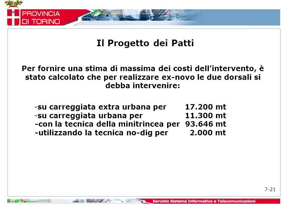 Per fornire una stima di massima dei costi dellintervento, è stato calcolato che per realizzare ex-novo le due dorsali si debba intervenire: -su carreggiata extra urbana per 17.200 mt -su carreggiata urbana per 11.300 mt -con la tecnica della minitrincea per 93.646 mt -utilizzando la tecnica no-dig per 2.000 mt Il Progetto dei Patti 7-21