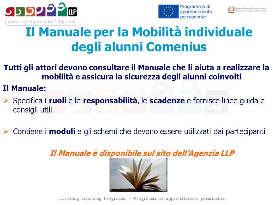 Il Manuale per la Mobilità individuale degli alunni Comenius Tutti gli attori devono consultare il Manuale che li aiuta a realizzare la mobilità e ass