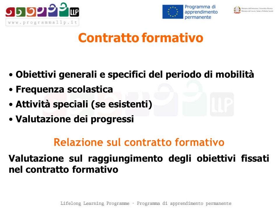 Contratto formativo Obiettivi generali e specifici del periodo di mobilità Frequenza scolastica Attività speciali (se esistenti) Valutazione dei progr