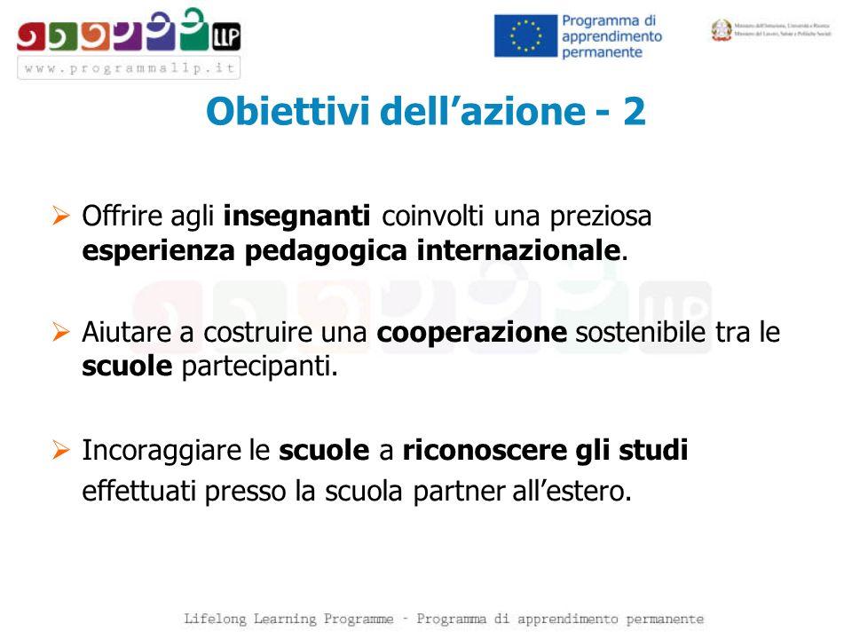 Obiettivi dellazione - 2 Offrire agli insegnanti coinvolti una preziosa esperienza pedagogica internazionale. Aiutare a costruire una cooperazione sos