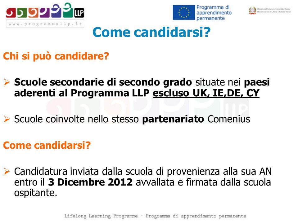 Come candidarsi? Chi si può candidare? Scuole secondarie di secondo grado situate nei paesi aderenti al Programma LLP escluso UK, IE,DE, CY Scuole coi