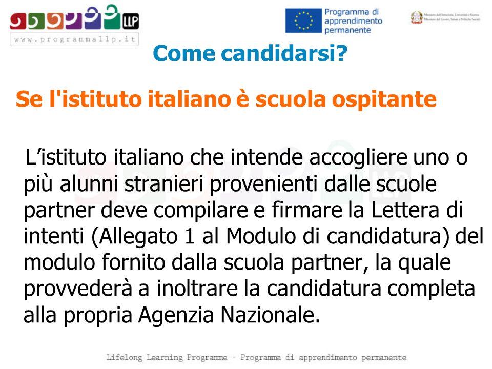Come candidarsi? Se l'istituto italiano è scuola ospitante Listituto italiano che intende accogliere uno o più alunni stranieri provenienti dalle scuo