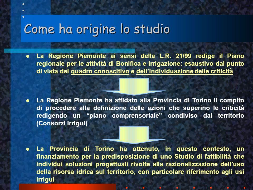 Come ha origine lo studio La Regione Piemonte ai sensi della L.R. 21/99 redige il Piano regionale per le attività di Bonifica e irrigazione: esaustivo