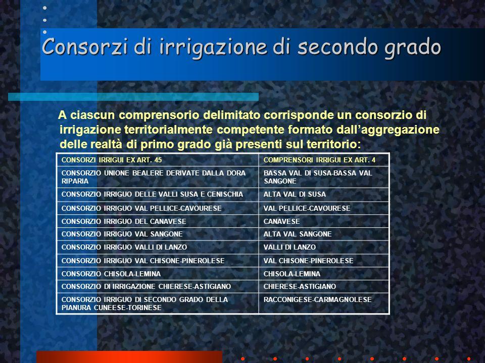 Consorzi di irrigazione di secondo grado A ciascun comprensorio delimitato corrisponde un consorzio di irrigazione territorialmente competente formato