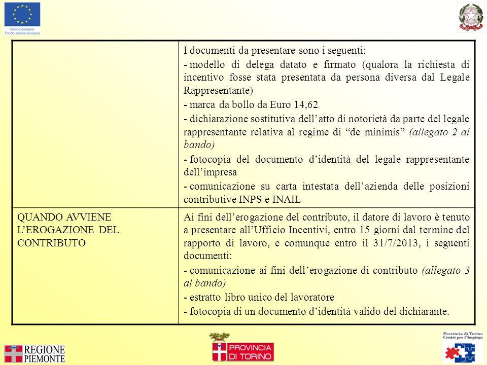 I documenti da presentare sono i seguenti: - modello di delega datato e firmato (qualora la richiesta di incentivo fosse stata presentata da persona diversa dal Legale Rappresentante) - marca da bollo da Euro 14,62 - dichiarazione sostitutiva dellatto di notorietà da parte del legale rappresentante relativa al regime di de minimis (allegato 2 al bando) - fotocopia del documento didentità del legale rappresentante dellimpresa - comunicazione su carta intestata dellazienda delle posizioni contributive INPS e INAIL QUANDO AVVIENE LEROGAZIONE DEL CONTRIBUTO Ai fini dellerogazione del contributo, il datore di lavoro è tenuto a presentare allUfficio Incentivi, entro 15 giorni dal termine del rapporto di lavoro, e comunque entro il 31/7/2013, i seguenti documenti: - comunicazione ai fini dellerogazione di contributo (allegato 3 al bando) - estratto libro unico del lavoratore - fotocopia di un documento didentità valido del dichiarante.