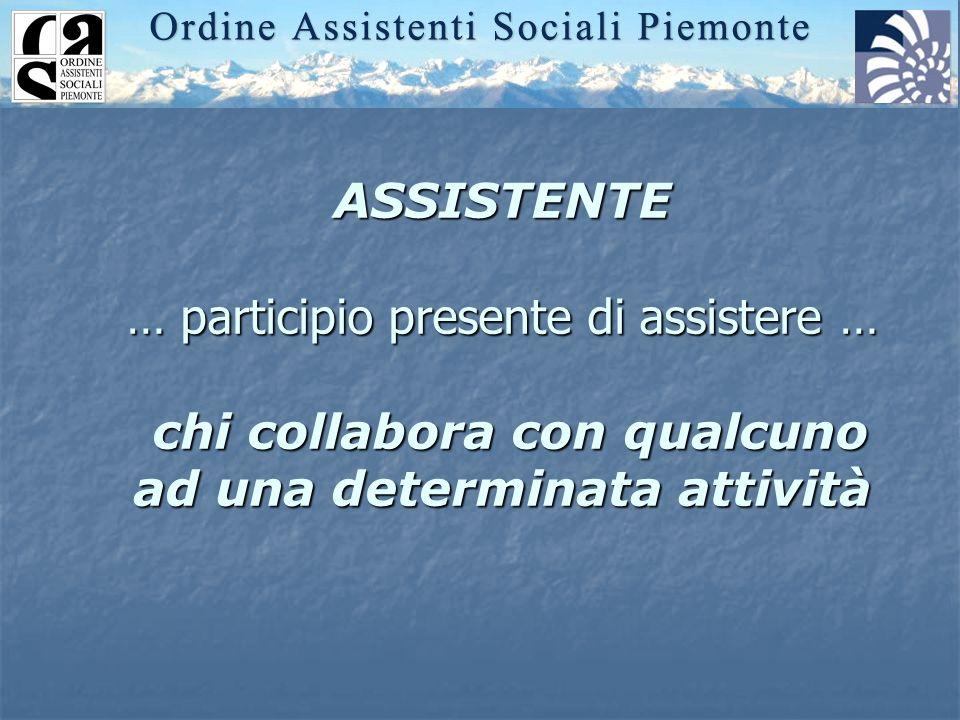 ASSISTENTE … participio presente di assistere … chi collabora con qualcuno ad una determinata attività