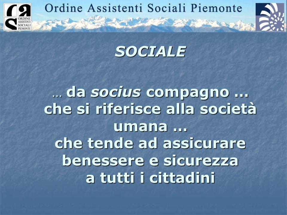 SOCIALE … da socius compagno … che si riferisce alla società umana … che tende ad assicurare benessere e sicurezza a tutti i cittadini