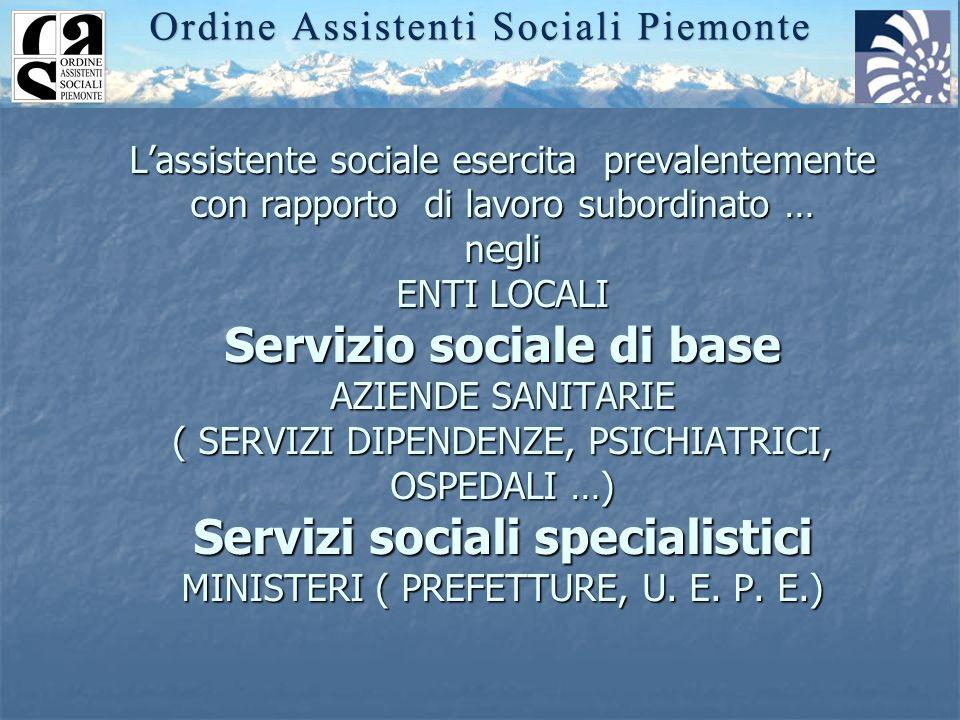 Lassistente sociale esercita prevalentemente con rapporto di lavoro subordinato … negli ENTI LOCALI Servizio sociale di base AZIENDE SANITARIE ( SERVI