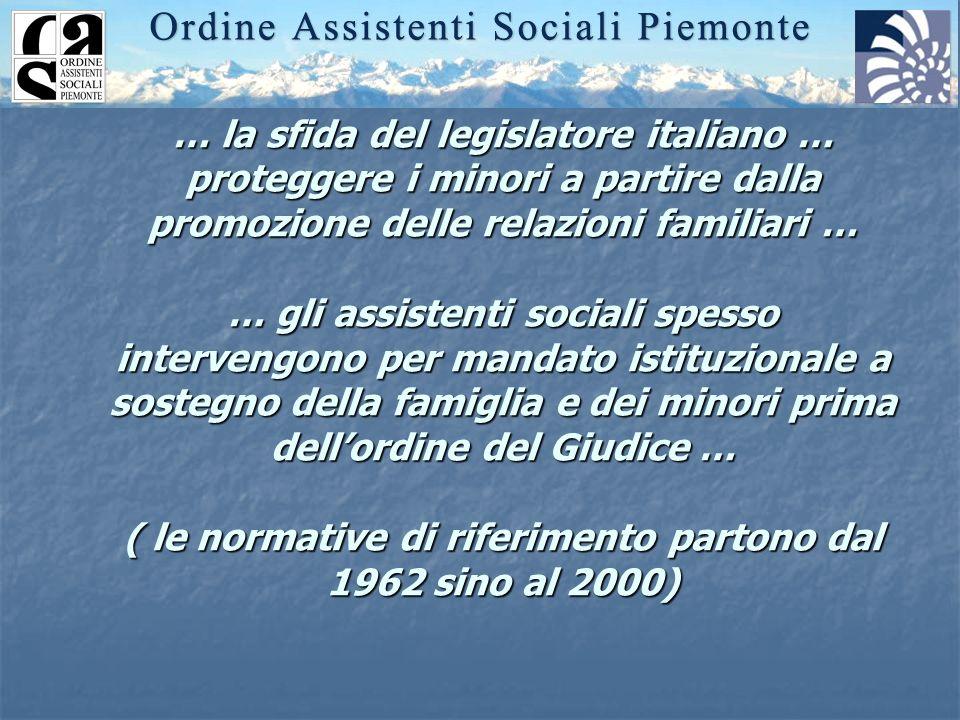 … la sfida del legislatore italiano … proteggere i minori a partire dalla promozione delle relazioni familiari … … gli assistenti sociali spesso inter