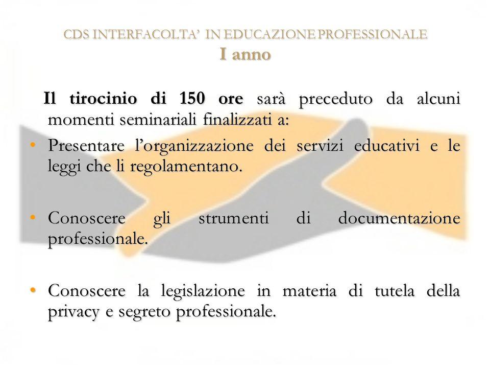 CDS INTERFACOLTA IN EDUCAZIONE PROFESSIONALE I anno Il tirocinio di 150 ore sarà preceduto da alcuni momenti seminariali finalizzati a: Il tirocinio d