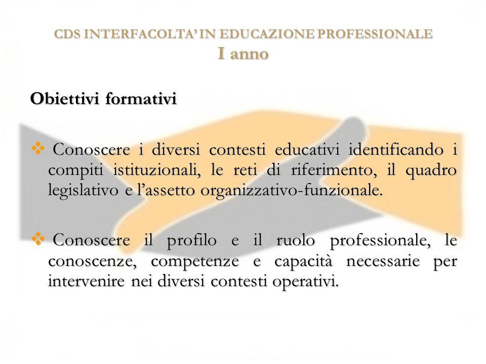 CDS INTERFACOLTA IN EDUCAZIONE PROFESSIONALE I anno Obiettivi formativi Conoscere i diversi contesti educativi identificando i compiti istituzionali,