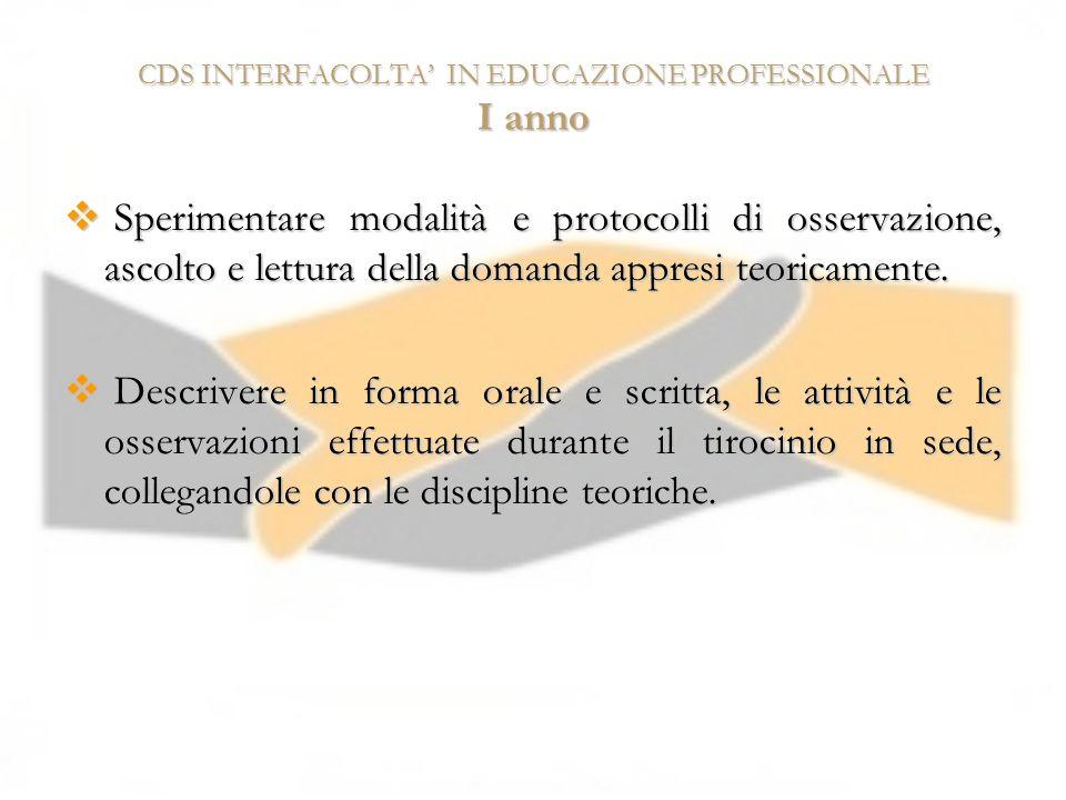 CDS INTERFACOLTA IN EDUCAZIONE PROFESSIONALE I anno Sperimentare modalità e protocolli di osservazione, ascolto e lettura della domanda appresi teoric