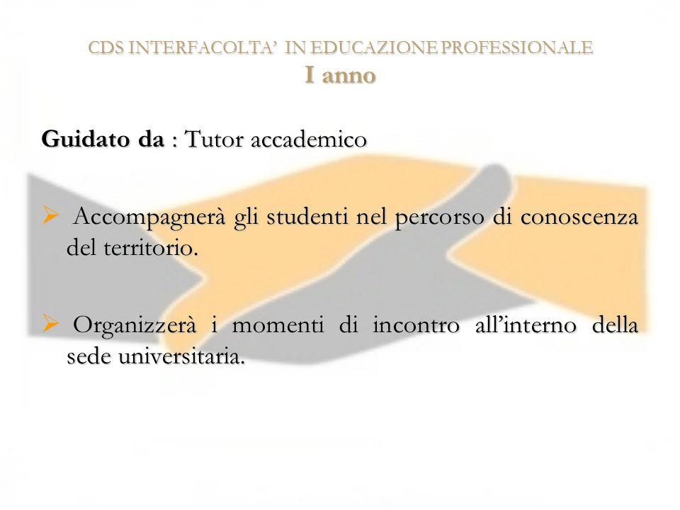 CDS INTERFACOLTA IN EDUCAZIONE PROFESSIONALE I anno Guidato da : Tutor accademico Accompagnerà gli studenti nel percorso di conoscenza del territorio.