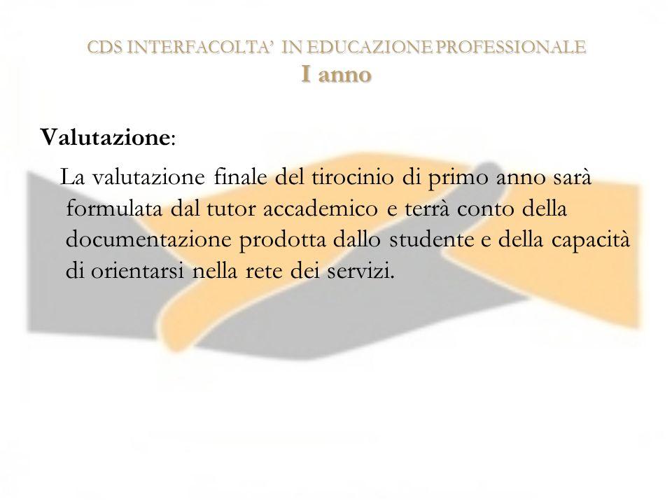 CDS INTERFACOLTA IN EDUCAZIONE PROFESSIONALE I anno Valutazione: La valutazione finale del tirocinio di primo anno sarà formulata dal tutor accademico