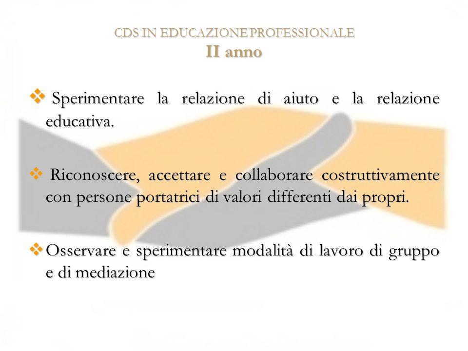 CDS IN EDUCAZIONE PROFESSIONALE II anno Sperimentare la relazione di aiuto e la relazione educativa. Sperimentare la relazione di aiuto e la relazione