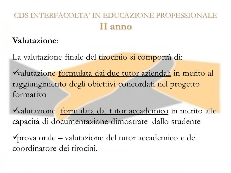 CDS INTERFACOLTA IN EDUCAZIONE PROFESSIONALE II anno Valutazione: La valutazione finale del tirocinio si comporrà di: valutazione formulata dai due tu