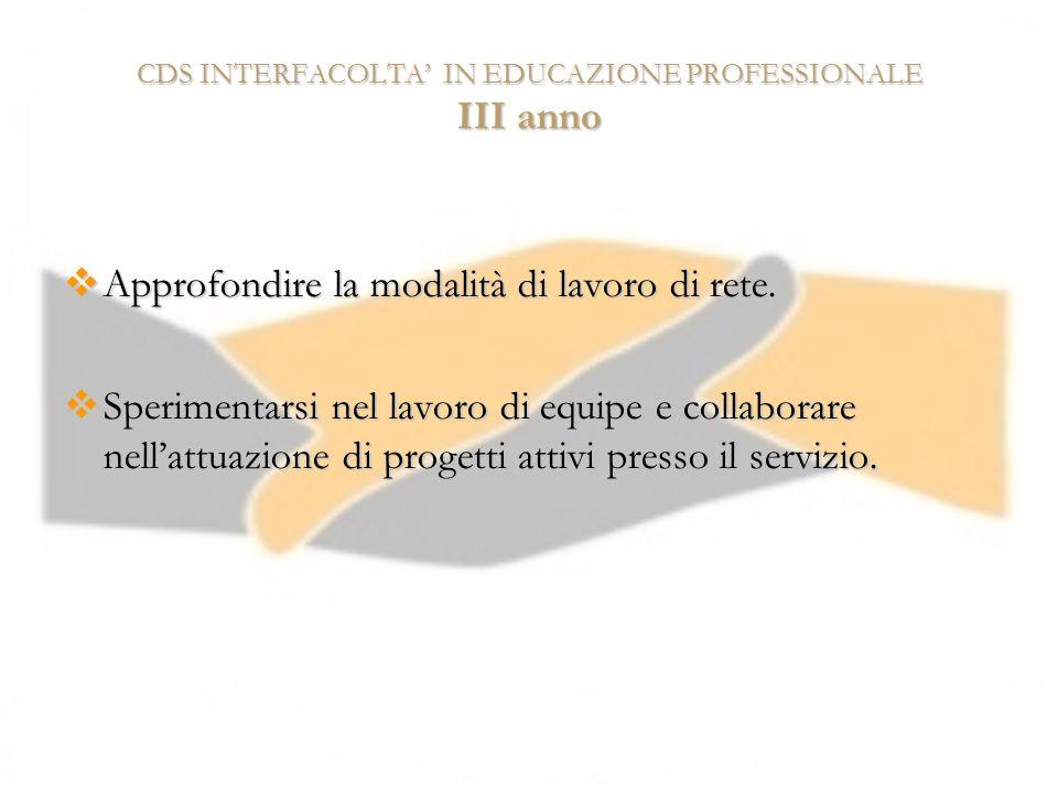 CDS INTERFACOLTA IN EDUCAZIONE PROFESSIONALE III anno Approfondire la modalità di lavoro di rete. Approfondire la modalità di lavoro di rete. Sperimen
