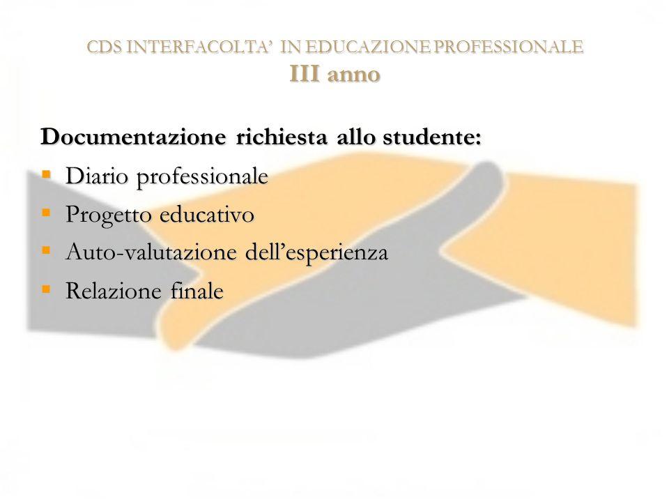CDS INTERFACOLTA IN EDUCAZIONE PROFESSIONALE III anno Documentazione richiesta allo studente: Diario professionale Diario professionale Progetto educa