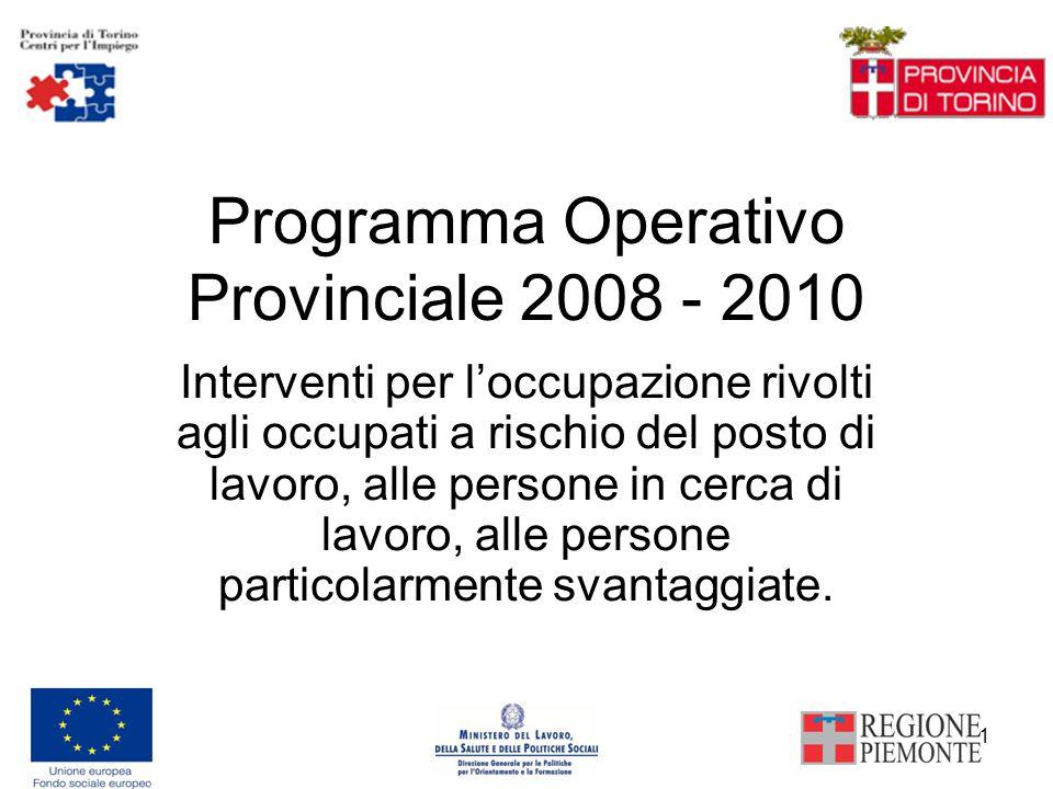 1 Programma Operativo Provinciale 2008 - 2010 Interventi per loccupazione rivolti agli occupati a rischio del posto di lavoro, alle persone in cerca di lavoro, alle persone particolarmente svantaggiate.