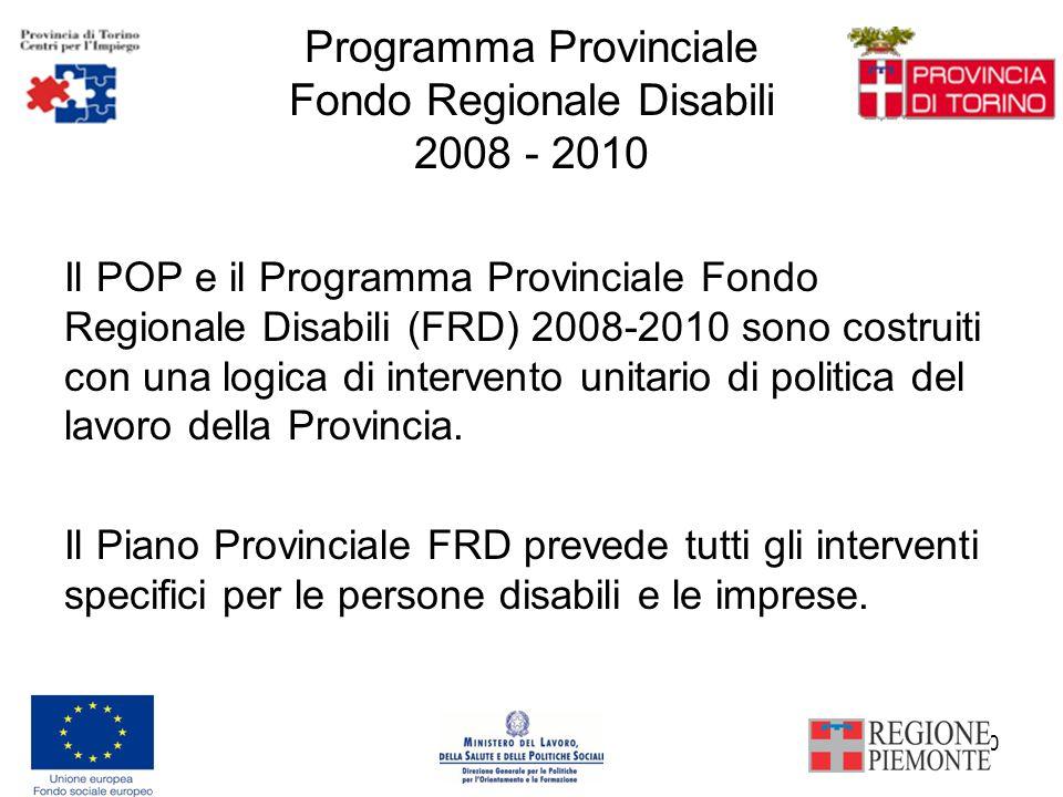10 Programma Provinciale Fondo Regionale Disabili 2008 - 2010 Il POP e il Programma Provinciale Fondo Regionale Disabili (FRD) 2008-2010 sono costruiti con una logica di intervento unitario di politica del lavoro della Provincia.