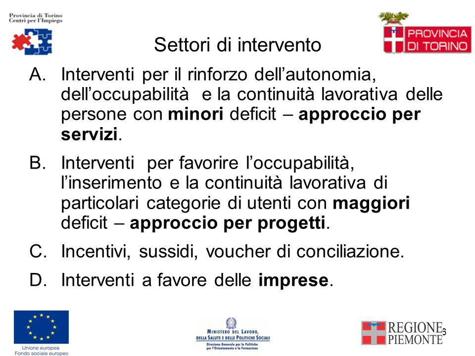 6 Settori di intervento A.Interventi per il rinforzo dellautonomia, delloccupabilità e la continuità lavorativa delle persone con minori deficit – approccio per servizi.