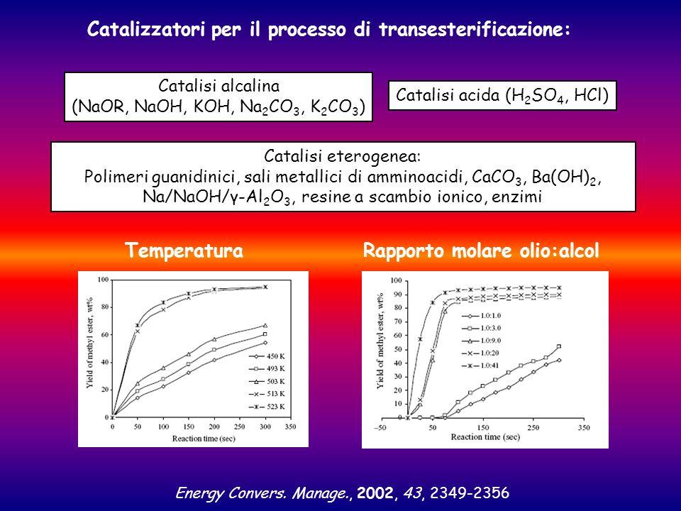 Catalizzatori per il processo di transesterificazione: Catalisi alcalina (NaOR, NaOH, KOH, Na 2 CO 3, K 2 CO 3 ) Catalisi acida (H 2 SO 4, HCl) Catali
