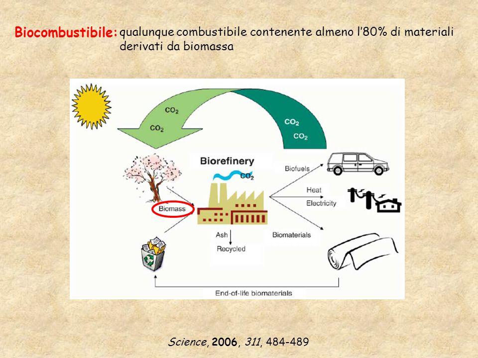 Alcuni esempi di biocombustibili: BIOMETANOLO (alcol del legno) BIOMETANOLO (alcol del legno) Biomassa gassificazione 2 H 2 + CO CH 3 OH catalizzatore BIOETANOLO (alcol del grano) BIOETANOLO (alcol del grano) Processo Iogen (Canada)
