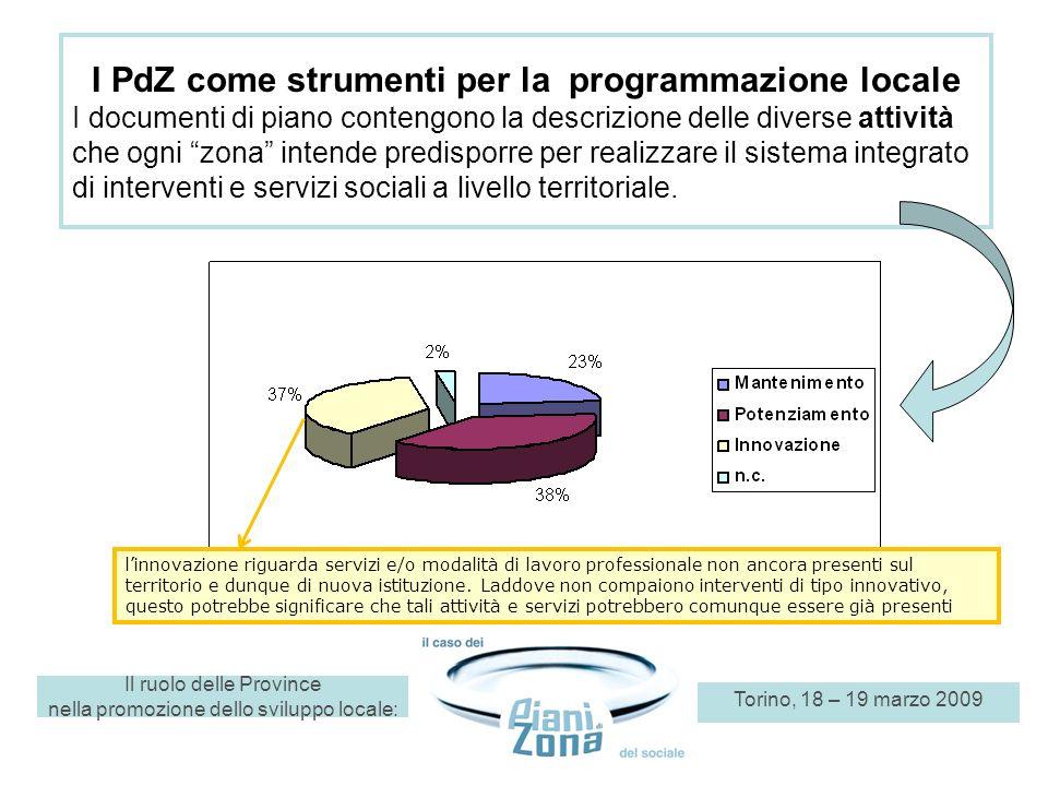 Il ruolo delle Province nella promozione dello sviluppo locale: Torino, 18 – 19 marzo 2009 I PdZ come strumenti per la programmazione locale I documen