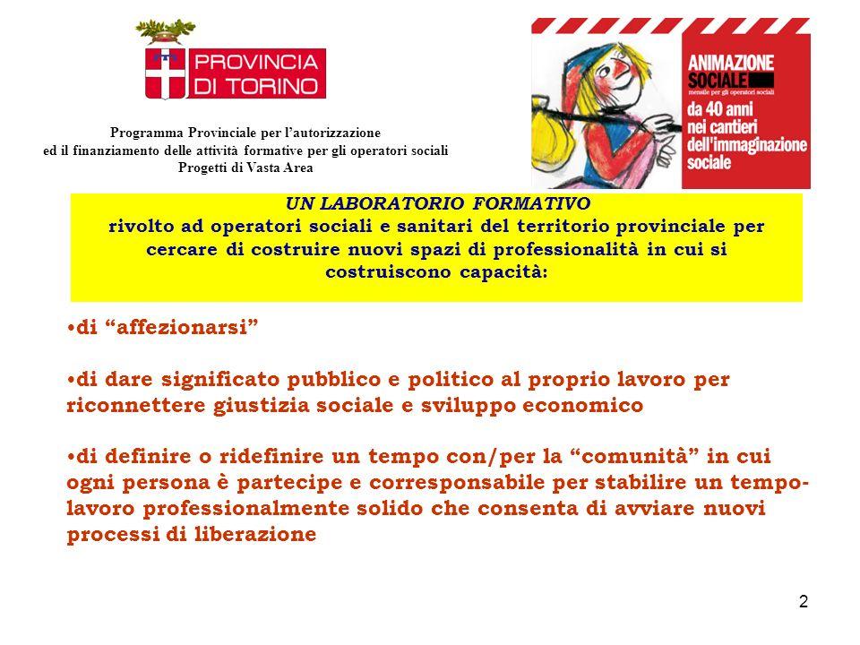2 UN LABORATORIO FORMATIVO rivolto ad operatori sociali e sanitari del territorio provinciale per cercare di costruire nuovi spazi di professionalità